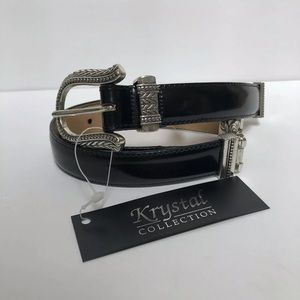 VTG Brighton Belt Leather Black Silver Size Small